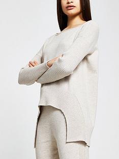 river-island-hi-low-hem-knitted-jumper-beige