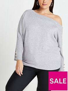 ri-plus-ri-plus-off-the-shoulder-button-detail-jumper-light-grey