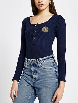 river-island-badge-detail-button-down-jersey-rib-top-navy