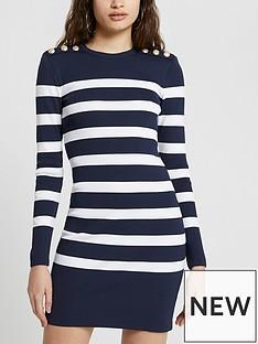river-island-button-shoulder-stripe-knitted-mini-dress-bluewhite