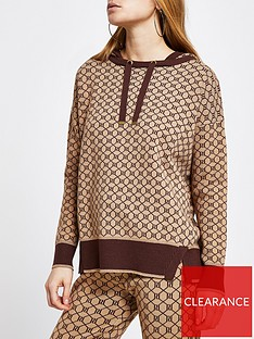 river-island-monogram-knitted-hoodie-brown
