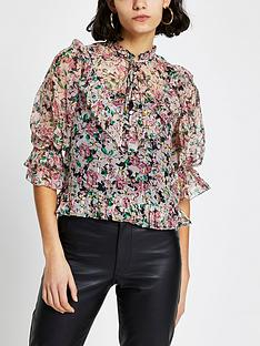 river-island-printed-frill-high-neck-blouse-pink