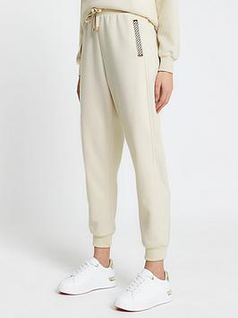 River Island Branded Ruched Waist Jogger - Cream, Cream, Size S, Women