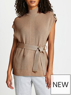 river-island-belted-knitted-tabbard-top--brown