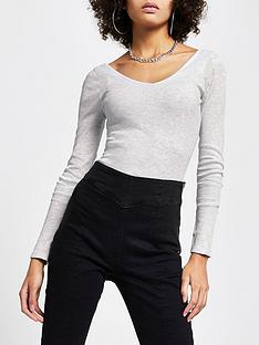 river-island-long-sleeve-v-front-amp-back-top-greynbsp