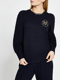 river-island-seam-detail-sweatshirt-navy