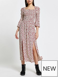 river-island-shirred-floral-dressnbsp--red