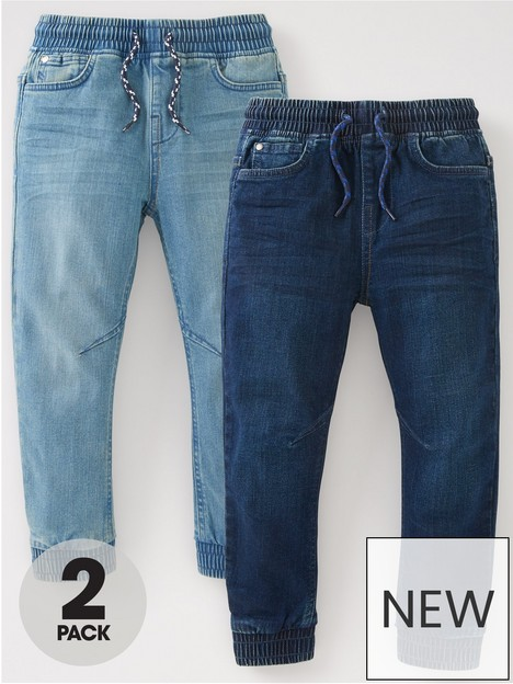 mini-v-by-very-boys-2-pack-pull-on-carrot-fit-jeans-bleach-washmid-wash