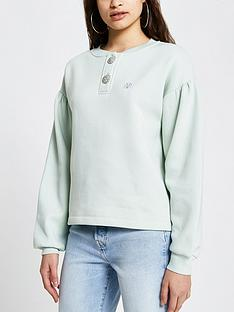 river-island-diamante-button-polo-neck-sweater-light-green