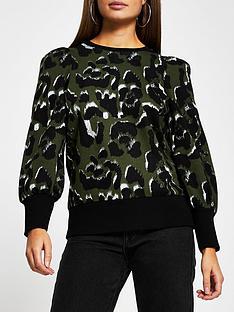 river-island-leopard-print-blouson-sleeve-sweater-khaki