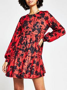 river-island-blouson-sleeve-floral-smock-dress-redfloral