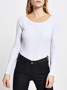 river-island-boat-neck-jersey-top-grey