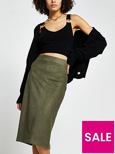 river-island-suedette-pencil-skirt-khaki