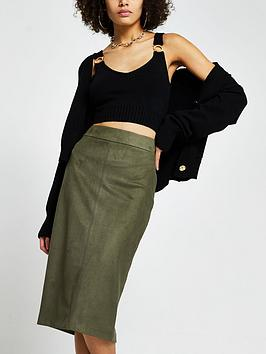 river-island-suedette-pencil-skirt-khaki