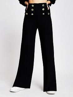river-island-button-detail-wide-leg-trouser-black
