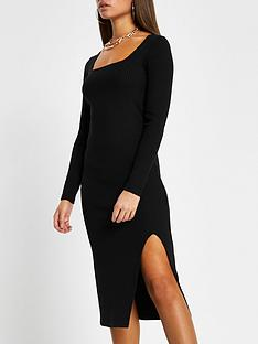 river-island-casual-rib-split-front-midi-dress-blacknbsp