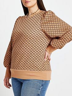 ri-plus-monogram-blouson-sleeve-sweater-brownprint