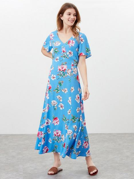 joules-v-neck-dress-with-panels-blue