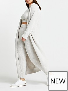 ri-plus-fluffy-longline-cardigan-grey