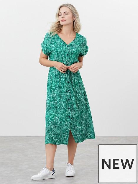 joules-button-through-v-neck-dress-green