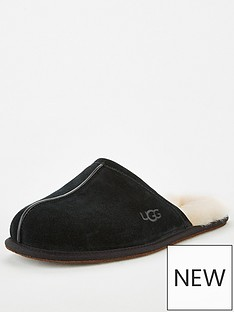 ugg-scuff-wool-lined-suede-slippers-black