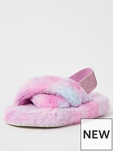 river-island-girls-ombre-faux-fur-slipper--nbspmulti