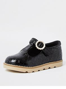 river-island-mini-girls-patent-monogram-shoe--nbspblack