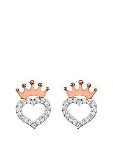 disney-princess-sterling-silver-crystal-heart-and-rose-gold-crown-earrings