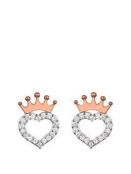 disney princess sterling silver crystal heart and rose gold crown earrings