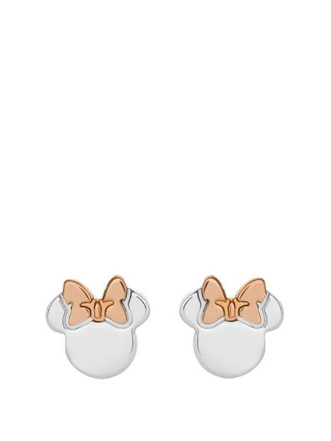 disney-disney-minnie-mouse-sterling-silver-and-rose-gold-bow-stud-earrings