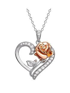 disney-disney-beauty-and-the-beast-sterling-silver-crystal-heart-and-rose-gold-rose-necklace