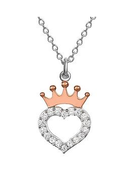 disney disney princess sterling silver crystal heart and rose gold crown necklace