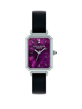 Lola Rose Lola Rose Amethyst Diamond Tank Dial Black Leather Strap Ladies Watch, Black, Women