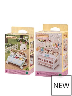 sylvanian-families-sylvanian-families-triplets-stroller-mobile-crib-twin-pack