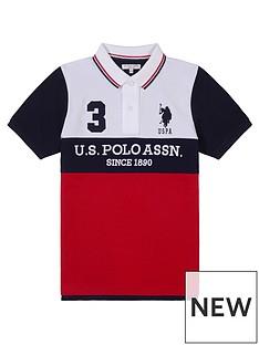 us-polo-assn-boys-player-colour-block-polo-shirt-red