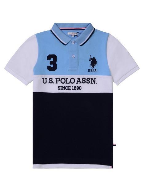 us-polo-assn-boys-player-colour-block-polo-shirt-blue