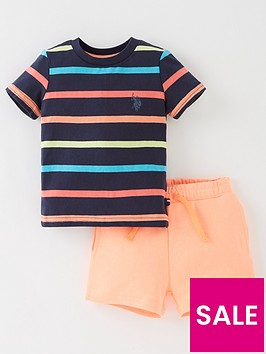us-polo-assn-boys-contrast-stripe-t-shirt-amp-short-set-orange