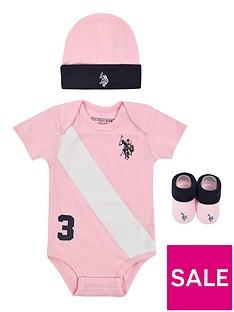 us-polo-assn-baby-girls-bodysuit-hat-amp-bootie-set-light-pink