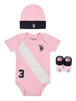 us-polo-assn-baby-girls-bodysuit-hat-amp-bootie-set-light-pink