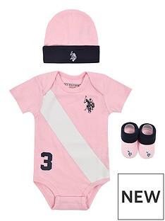 us-polo-assn-baby-girls-bodysuit-hat-bootie-set-light-pink