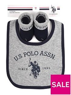 us-polo-assn-baby-boys-bib-and-bootie-set-grey-marl