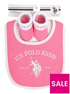 us-polo-assn-baby-girls-bib-and-bootie-set-pink