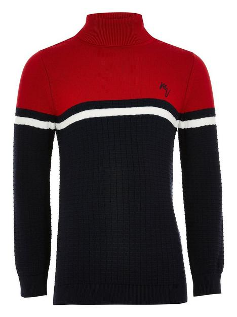 river-island-boys-colour-block-knitted-roll-necknbsp-nbsprednbsp