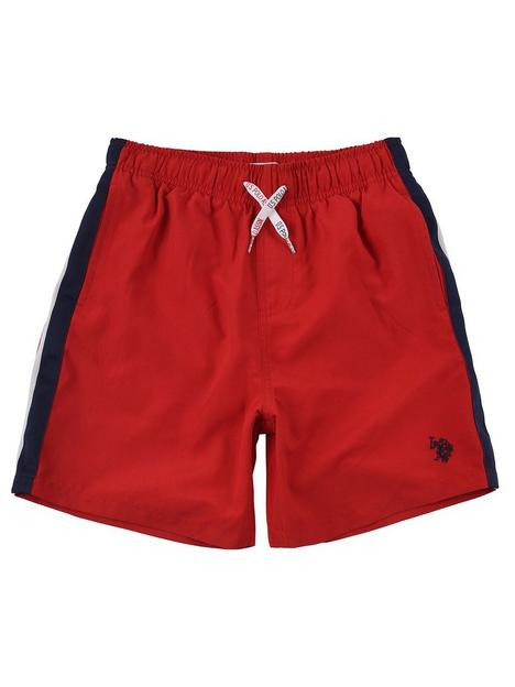 us-polo-assn-boys-taped-swim-shorts-red