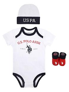 us-polo-assn-baby-bodysuit-hat-amp-bootie-set-white
