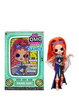 L.O.L Surprise! Omg Dance Dance Dance Major Lady Fashion Doll With 15 Surprises Including Magic Blacklight, Shoes, Hair Brush, Doll Stand And Tv Package