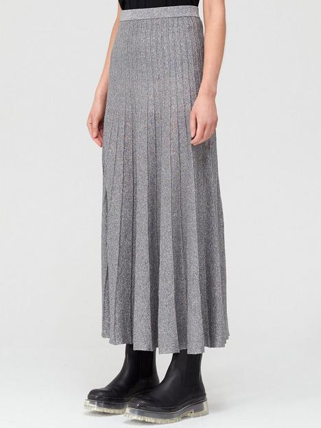 joseph-metallic-lurex-pleat-skirt-silver