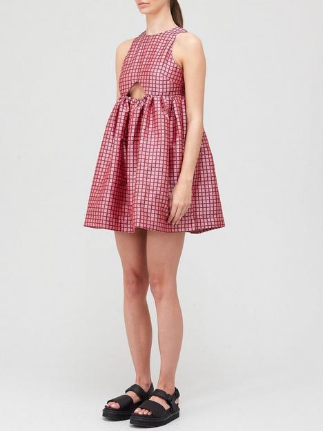 paper-london-cut-out-back-mini-dress-pinkred
