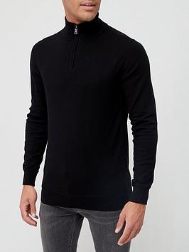 very-man-cotton-rich-quarter-zip-sweater-black