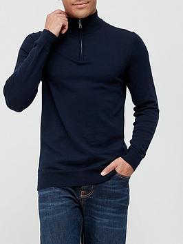 very-man-cotton-rich-quarter-zip-sweater-navy
